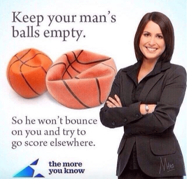 advertisement for emptying a man's balls with pic of deflated basketballs and a woman in a suit smiling with her hands crossed