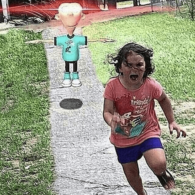 Pic of child running away from Sheen from Jimmy Neutron t-posing with glowing eyes