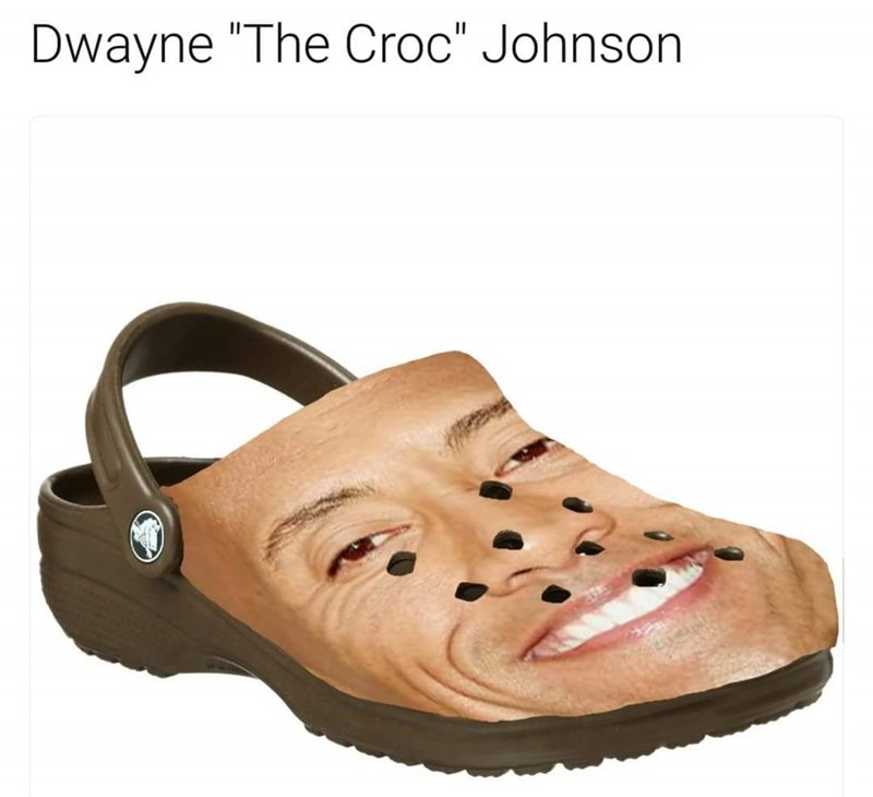 Pic of Dwayne Johnson's face photoshopped over a Croc shoe