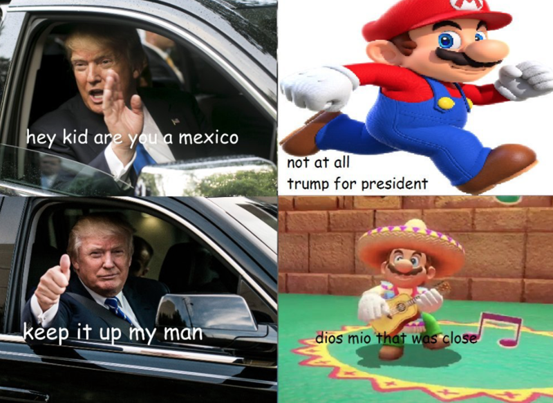 Meme about Mario fooling Donald Trump so he doesn't arrest him for being Mexican