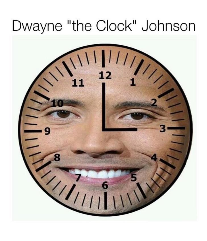 Pic of Dwayne Johnson's face photoshopped over a watch