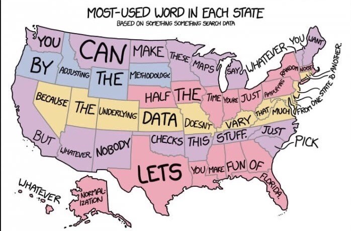 Map of the US showing which is the most common word in each state with the purpose of making fun of Florida
