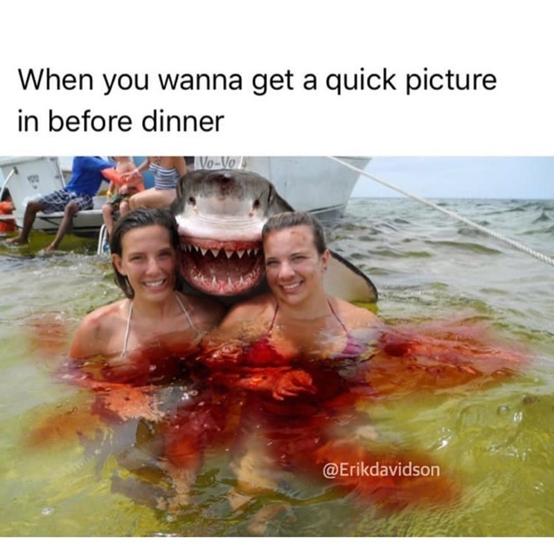 Girls posing in bloody water with smiling shark behind them.