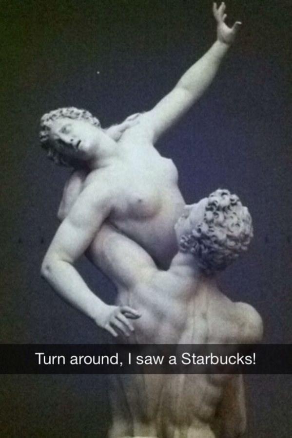 Sculpture - Turn around, I saw a Starbucks!