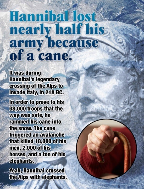 Fun fact meme about how Hannibal lost nearly half of his army when he stabbed his cane into the snow to check the depth and started a massive avalanche.