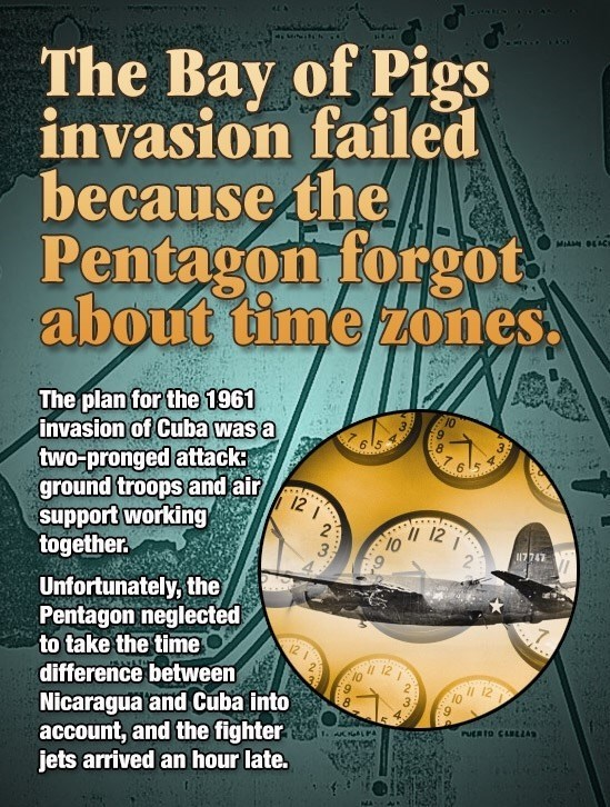 Fun fact about how the bay of pigs invasion was messed up because of the time zone difference between Cuba and Nicaragua