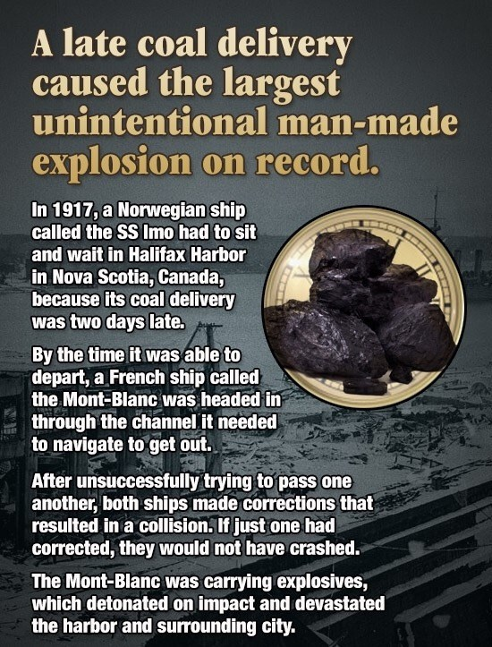 Strange fun fact of how a delayed coal delivery caused a massive explosion.