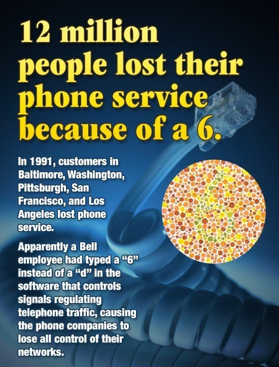Bell employee that typed a 6 instead of a D and it messed up phone service for millions of people.