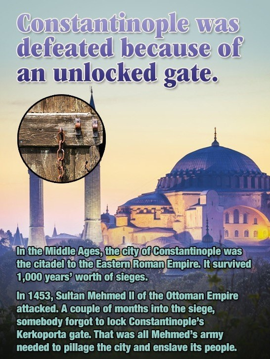 How Sultan Mehmed conquered Constantinople because of someone who forgot to lock the gate.