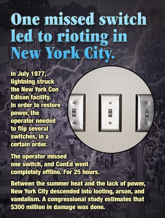 How jst one missing switch led to the 1977 New York City riots.