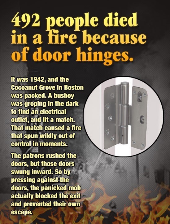 Story of how 492 people died in Coconut Grove in Boston because of the door hinges.