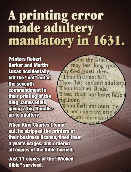 Story of the wicked bible which had adultery mandatory by accident in 1631