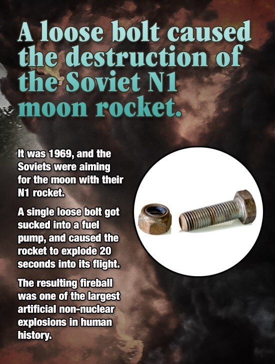 1969 Soviet N1 rocket destroyed by a single loose bolt.