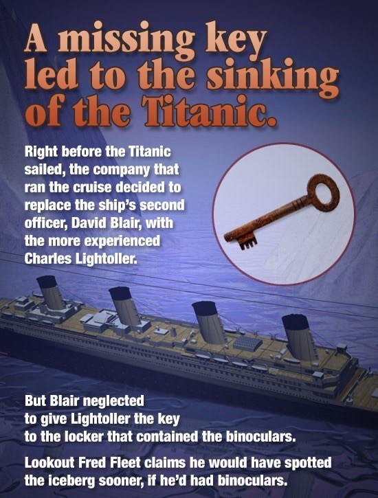 Story of how a missing key to where the binoculars were kept might have been what crashed the Titanic.