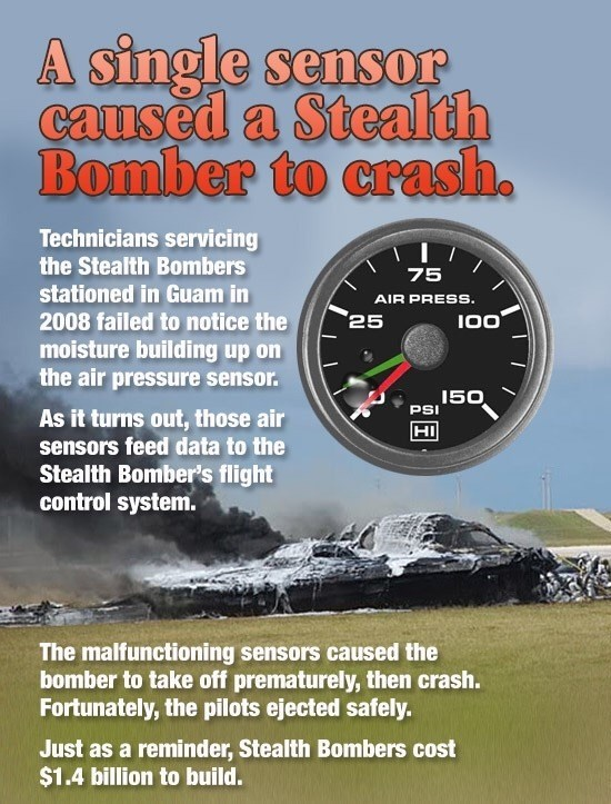 Meme about fun fact of a stealth bomber that crashed because of moisture buildup in air pressure sensor.