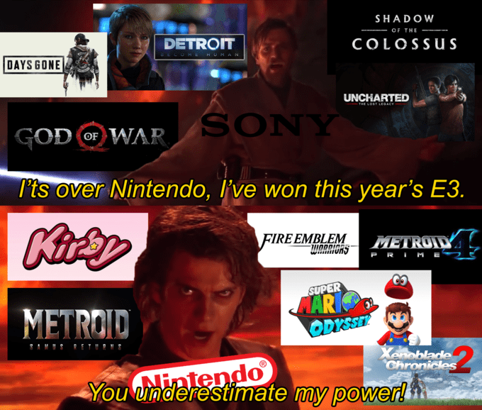 Funny meme about the E3 expo with Anakin and Obi Wan kenobi.