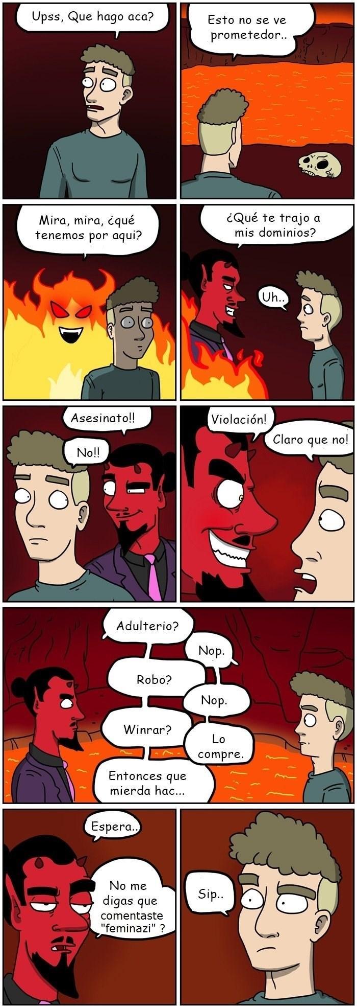 un chico se encuentra en el infierno por haber comentado feminazi