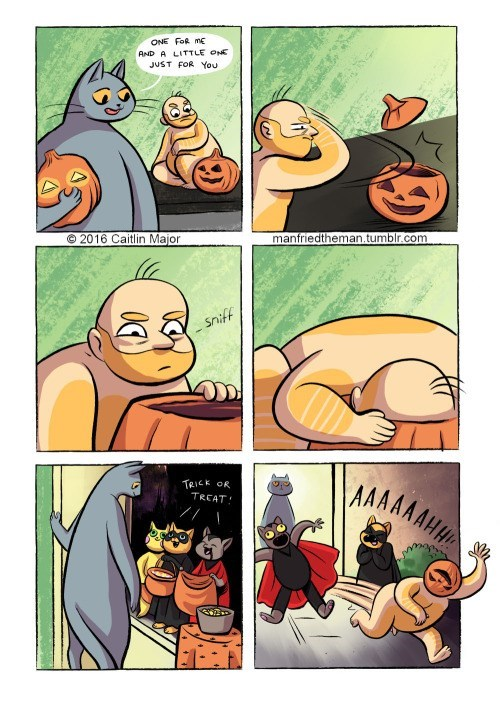Comics - ONE FoR m AND A LITTLE ONE JUST FOR You manfriedtheman.tumblr.com © 2016 Caitlin Major Sniff MAAAAHA TRICK OR TRCAT