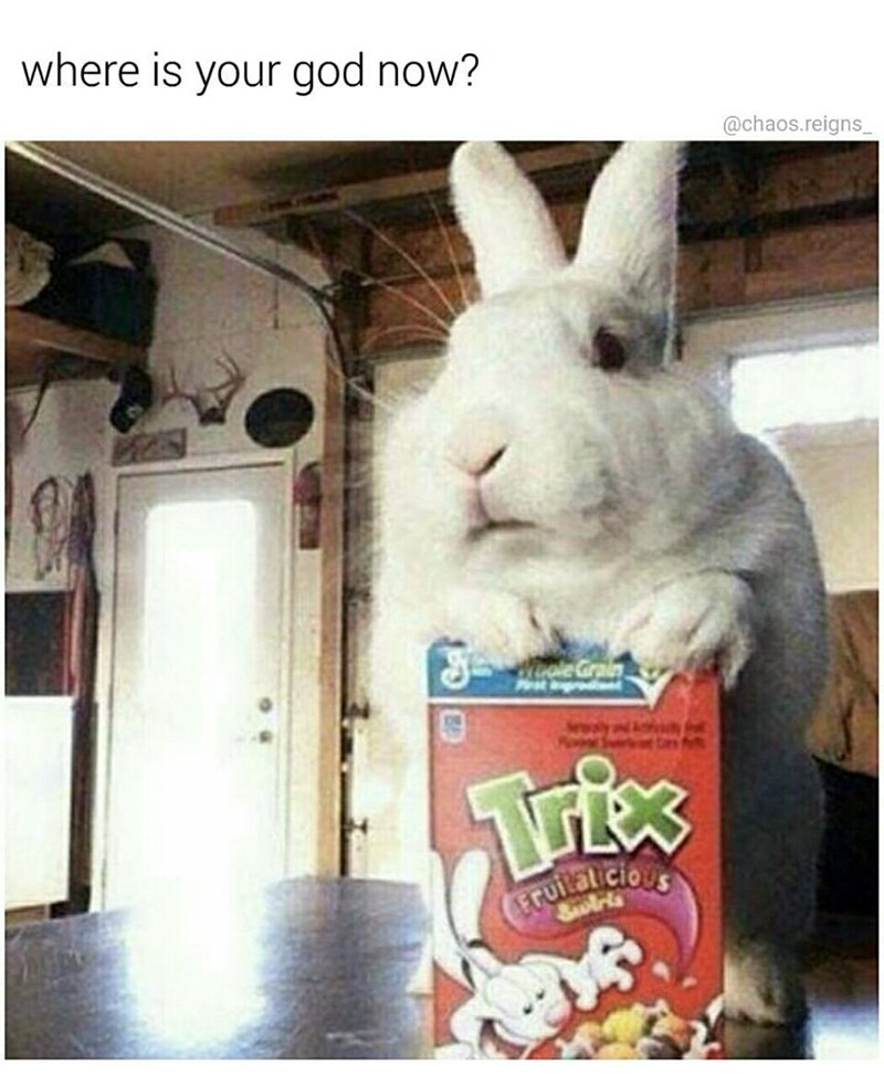 Funny meme with box of Trix cereal and a giant rabbit.