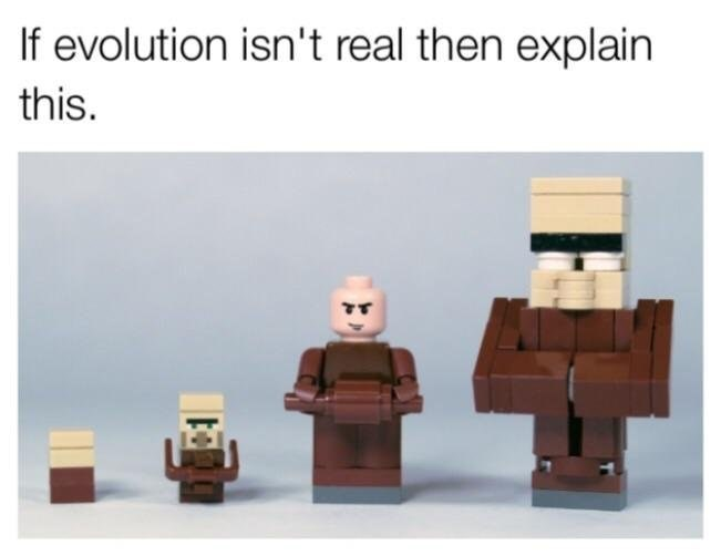 dank meme with Lego being proof of evolution