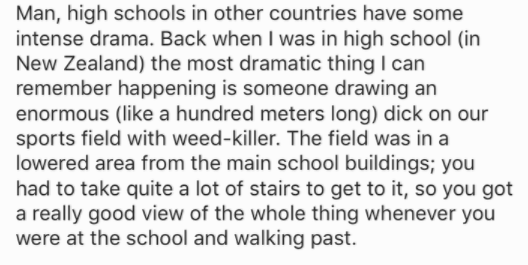 Text - Man, high schools in other countries have some intense drama. Back when I was in high school (in New Zealand) the most dramatic thing I can remember happening is someone drawing an enormous (like a hundred meters long) dick on our sports field with weed-killer. The field was in a lowered area from the main school buildings; you had to take quite a lot of stairs to get to it, so you got a really good view of the whole thing whenever you were at the school and walking past