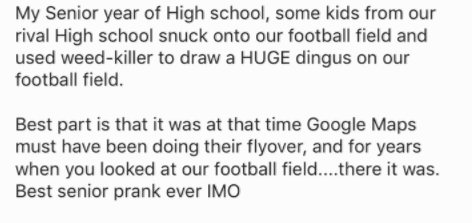 Text - My Senior year of High school, some kids from our rival High school snuck onto our football field and used weed-killer to draw a HUGE dingus on our football field. Best part is that it was at that time Google Maps must have been doing their flyover, and for years when you looked at our football field... .there it was Best senior prank ever IMO