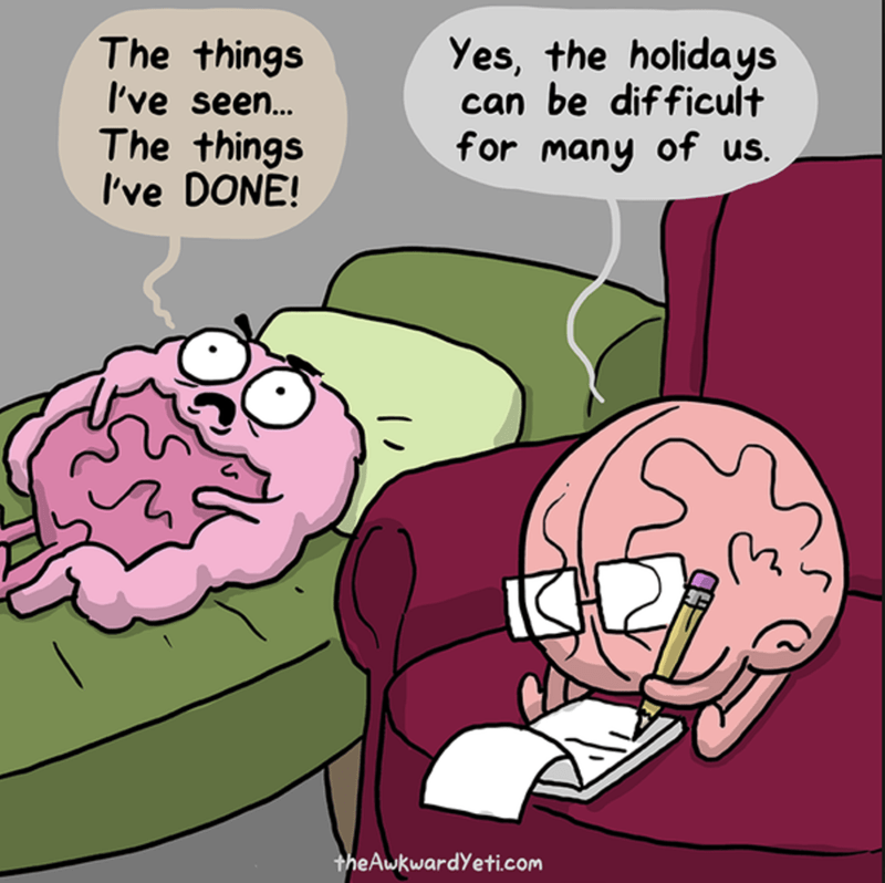 The intestines on the psychologist couch ad the Brain listens and writes down notes, saying the Holidays are tough on everyone.