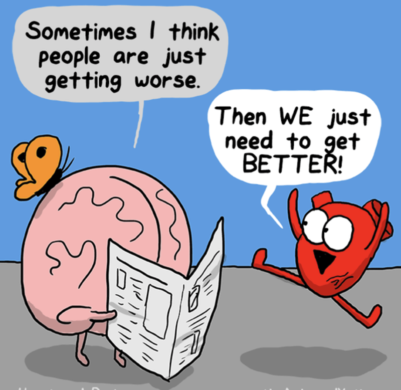 Awkward Yeti cartoon about how the brain is pessimists and the heart an optimist.