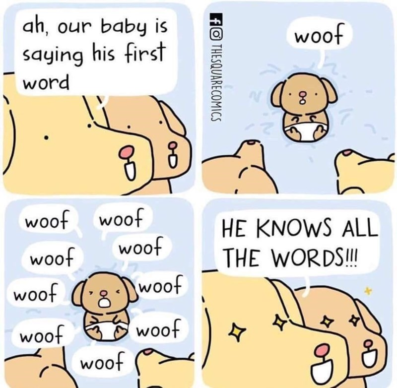 Funny web comic about a puppy saying its first words, it says woof, then woof over and over and his parents are proud because he knows all the words.