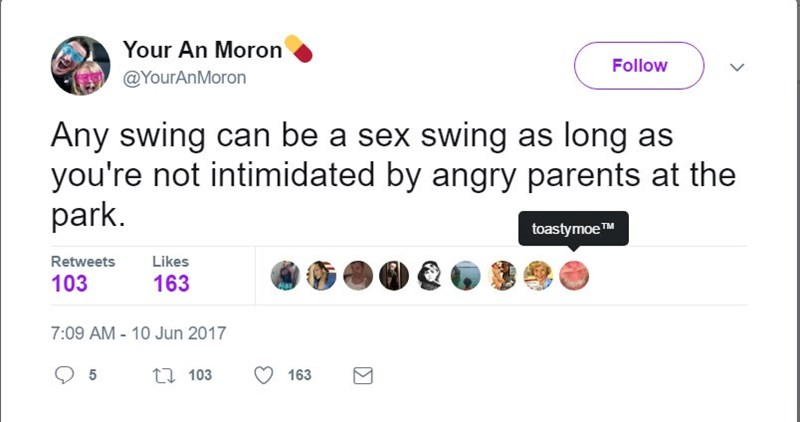 tweet about what can be done with a swing if you don't care about angry parents at the park