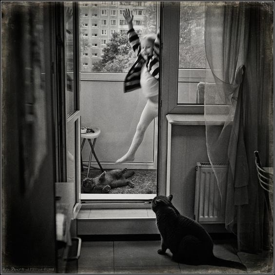 Andy Prokh jumping girl with cat watching - black and white