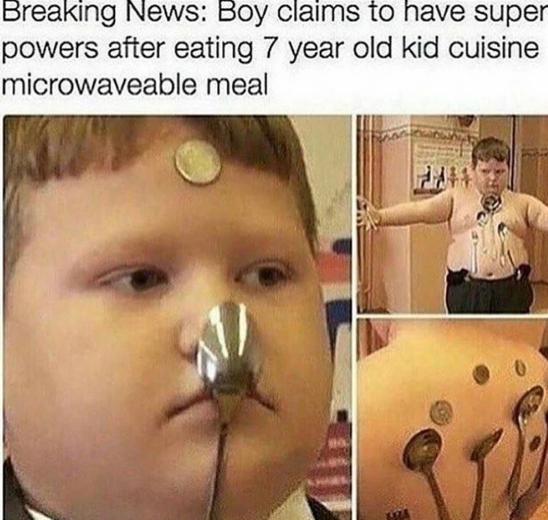 Face - Breaking News: Boy claims to have super powers after eating 7 year old kid cuisine microwaveable meal