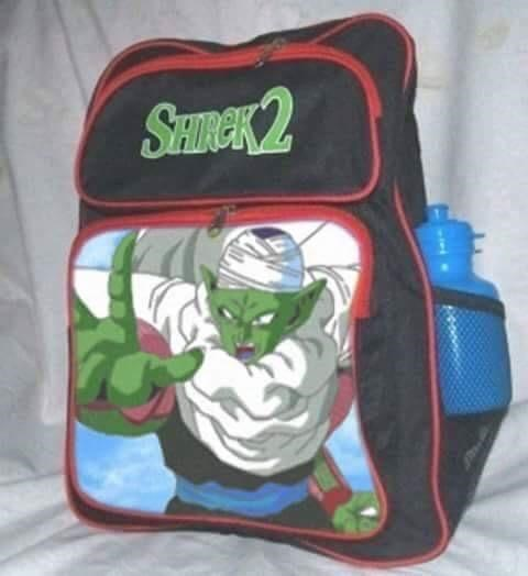 Shrek 2 Backpack that may have been confused for a green character from some Anime movie