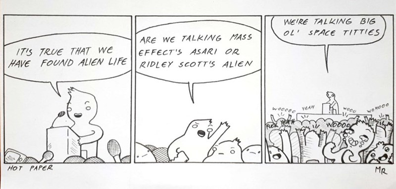 Funny web comic about finding aliens with big old space titties.