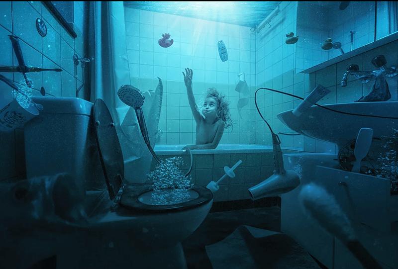Underwater in the bathroom picture of John Wilhel's kids.
