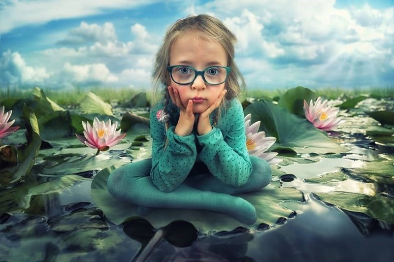 John Wilhelm portrait of daughter in lily pond