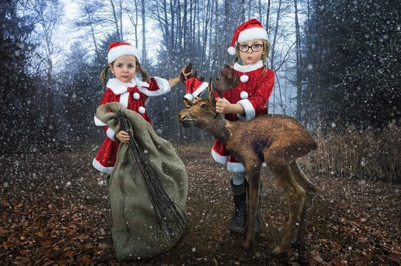 Magical Christmas portrait of two girls by John Wilhel