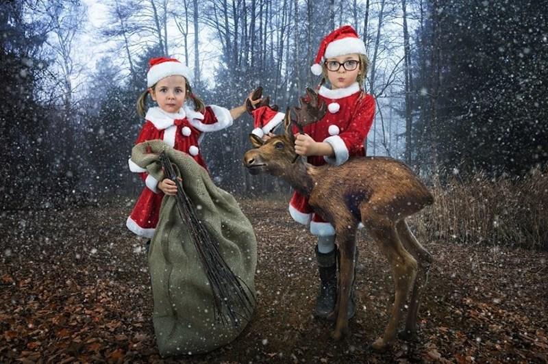 Magical Christmas portrait of two girls by John Wilhel