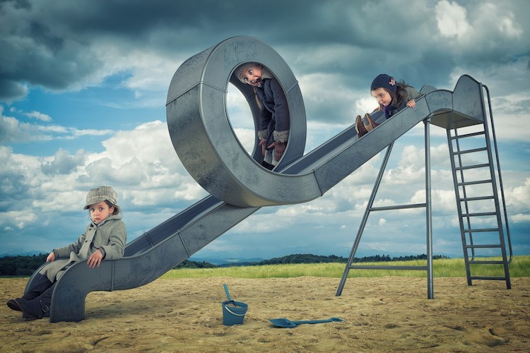 Fantasy picture of John Wilhel taken of his daughters going in a looped slide.