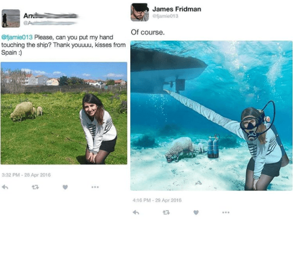 James Fridman edits a girls hand to be touching a ship.