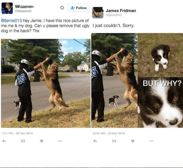 James Fridman refuses to edit out adorable dog from the image.