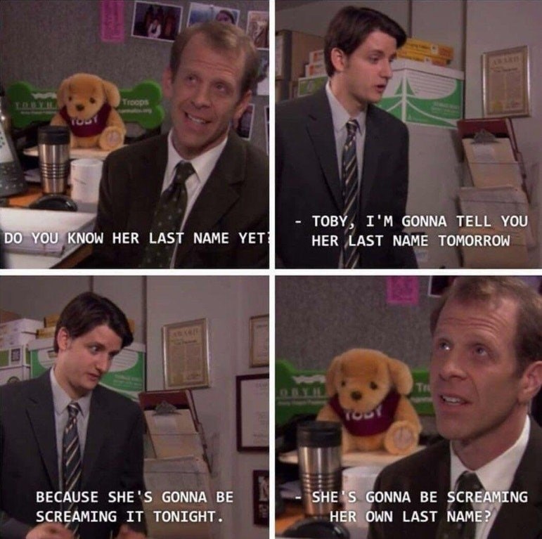 Funny moment from the OFfice in which accidentally says his date will be screaming her own last name when they have sex.