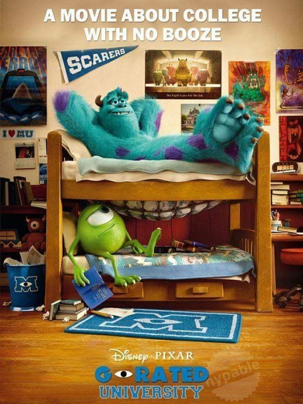 Room - A MOVIE ABOUT COLLEGE WITH NO BOOZE AR ERAO SCAREAE The p e IVMU ISNEP PIXAR GRATED UNIVERSITY nypable SCARE