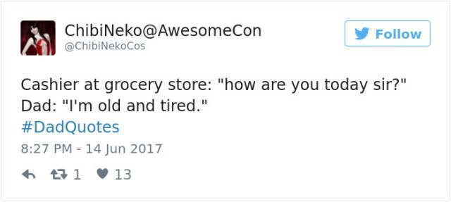 """dad joke - Text - ChibiNeko@AwesomeCon Follow @ChibiNekoCos Cashier at grocery store: """"how are you today sir?"""" Dad: """"I'm old and tired."""" #DadQuotes 8:27 PM 14 Jun 2017 t1 13"""