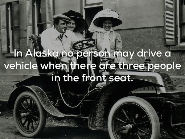 """Land vehicle - In Alaskano person may drive a vehicle when there are three people """"in the front seat."""