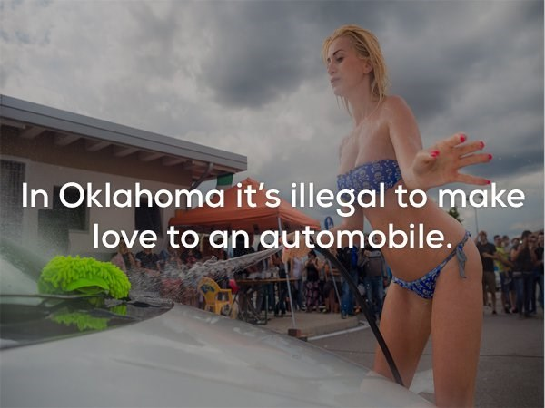 Fun - In Oklahoma it's illegal to make love to an automobile.