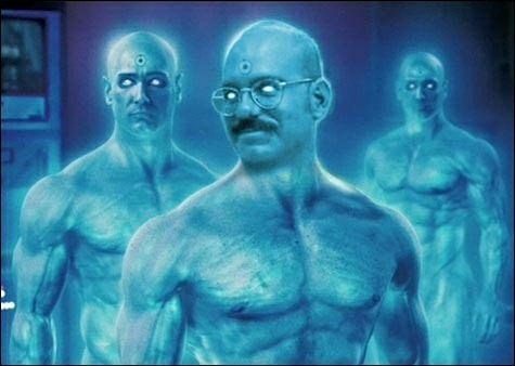 Funny photo where Tobias Funke from Arrested Development is photoshopped to look like - and be with - The Watchmen's Dr. Manhattan.