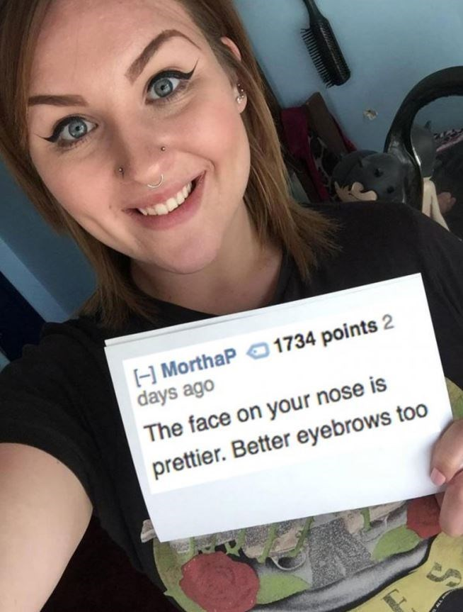 Selfie - H MorthaP 1734 points 2 days ago The face on your nose is prettier. Better eyebrows too