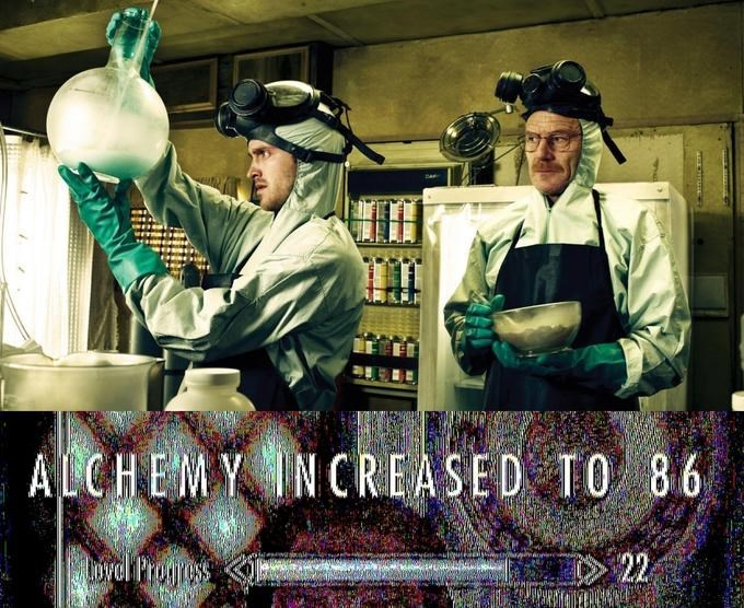 """picture of Jesse and Walt from Breaking Bad cooking meth captioned with """"Alchemy skill increased"""""""