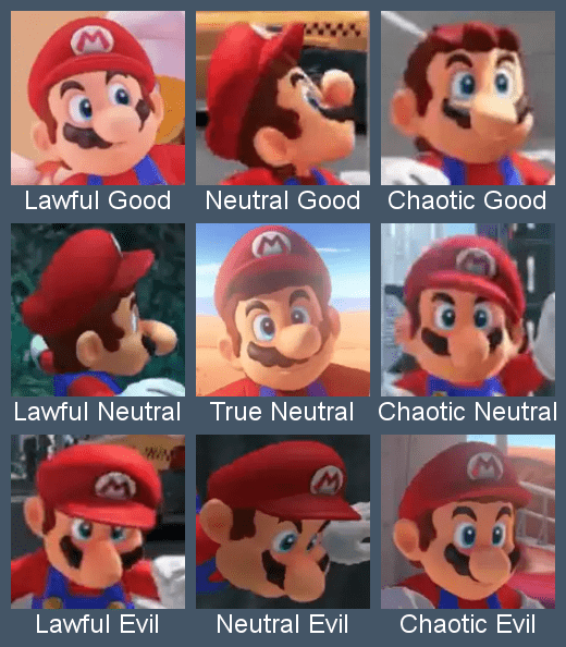 Animated cartoon - Lawful Good Neutral Good Chaotic Good Lawful Neutral True Neutral Chaotic Neutral M Lawful Evil Neutral Evil Chaotic Evil